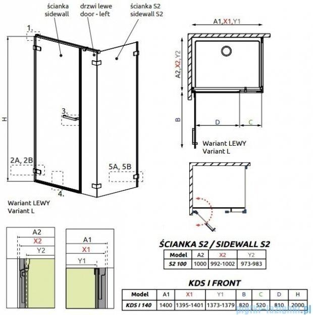Radaway Arta Kds I kabina 140x100cm lewa szkło przejrzyste 386820-03-01L/386105-03-01L/386112-03-01