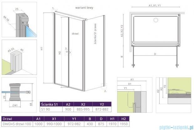Radaway Eos II DWD+S kabina 100x90 lewa szkło przejrzyste 3799492-01/3799411-01R