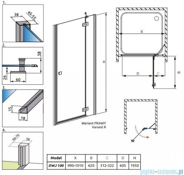 Radaway Almatea DWJ Drzwi wnękowe 100 Prawe szkło grafitowe 31302-01-05N
