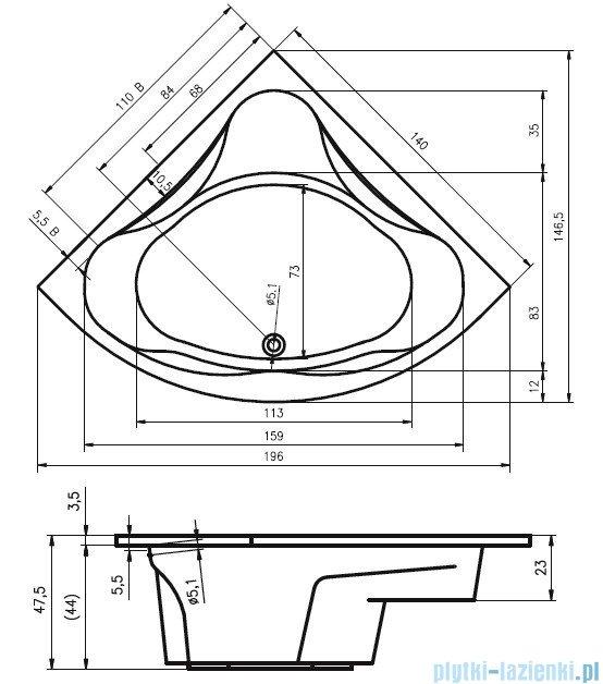 Riho Neo Wanna symetryczna 140x140 z hydromasażem TOP Hydro 6+4+2 BC34T2