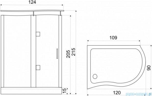 NOVOTERM kabina prysznicowa lewa szkło: niebieskie 120x90 NERO Lewa N