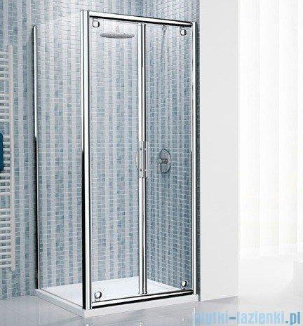Novellini Drzwi prysznicowe składane LUNES B 114 cm szkło przejrzyste profil biały LUNESB114-1D