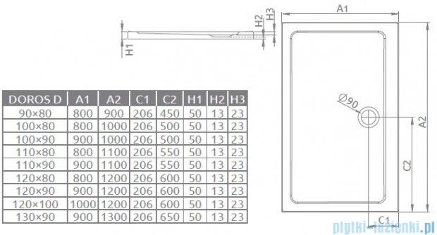 Radaway Premium Plus D Kabina prostokątna 100x80 szkło przejrzyste + Brodzik Doros D + syfon 30434-01-01N