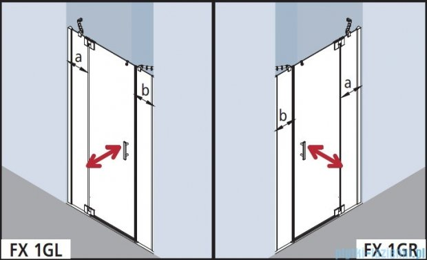 Kermi Filia Xp Drzwi wahadłowe 1-skrzydłowe z polami stałymi, lewe, szkło przezroczyste, profile srebrne 150x200cm FX1GL15020VAK