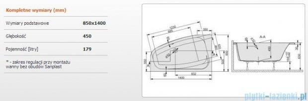 Sanplast Free Line Wanna asymetryczna lewa+stelaż WAL/FREE 140x85+ST26, 610-040-0540-01-000