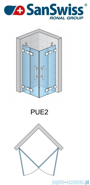 SanSwiss Pur PUE1 Wejście narożne 1-częściowe 40-100cm profil chrom szkło Krople Prawe PUE1DSM21044