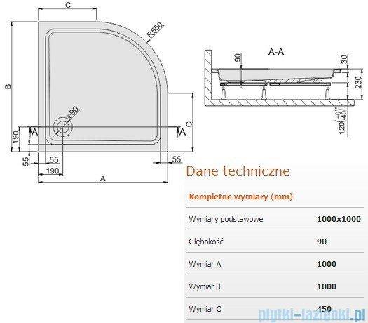 Sanplast Brodzik półokrągły Free Line 100x100x9cm + stelaż 615-040-0241-01-000