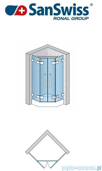 SanSwiss Pur PUR52 Drzwi 2-częściowe do kabiny 5-kątnej 45-100cm profil chrom szkło przezroczyste PUR52SM11007