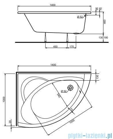 Koło Neo Plus Wanna asymetryczna 140x100cm Lewa XWA0741