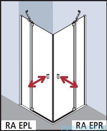 Kermi Raya Wejście narożne, 1 połowa, prawa, szkło przezroczyste z KermiClean, profile srebrne 90x200 RAEPR09020VPK