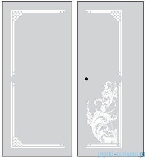 Kerasan Kabina kwadratowa lewa, szkło dekoracyjne piaskowane profile chrom 100x100 Retro 9150P0
