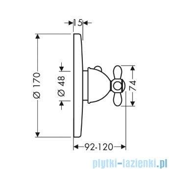Hansgrohe Axor Carlton Bateria termostatowa podtynkowa z uchwytem krzyżowym chrom/złoty 17715090