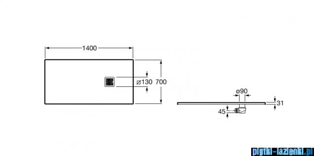 Roca Terran 140x70cm brodzik prostokątny konglomeratowy szary cementowy AP015782BC01300