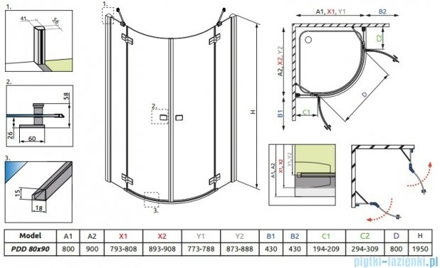 Radaway Almatea PDD E GOLD kabina półokrągła 90x80 szkło grafitowe 30532-09-05N