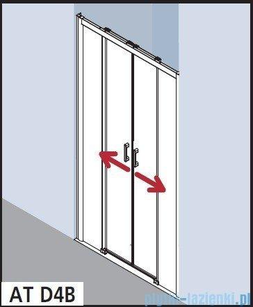 Kermi Atea Drzwi przesuwne bez progu, 4-częściowe, szkło przezroczyste z KermiClean, profile białe 180x185 ATD4B180182PK