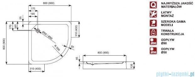 Aquaform Standard brodzik półokrągły płytki ze zintegrowaną obudową 80x80x13,5cm 05498