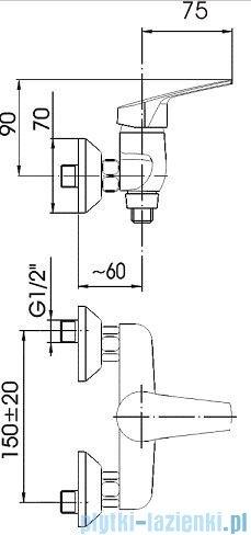 KFA RODON Bateria natryskowa ścienna chrom 456-020-00