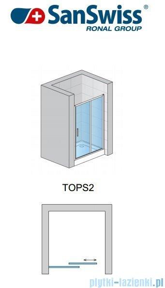 SanSwiss Top-Line TOPS2 Drzwi 2-częściowe rozsuwane 120cm profil połysk TOPS212005007