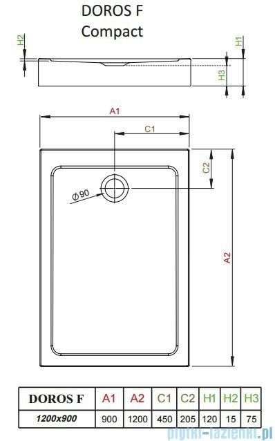 Radaway Doros F Compact brodzik prostokątny 120x90cm SDRFP1290-05