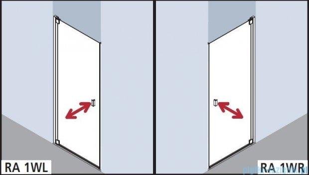 Kermi Raya Drzwi wahadłowe, 1-skrzydłowe, lewe, szkło przezroczyste z KermiClean, profile srebrne 90x200 RA1WL09020VPK