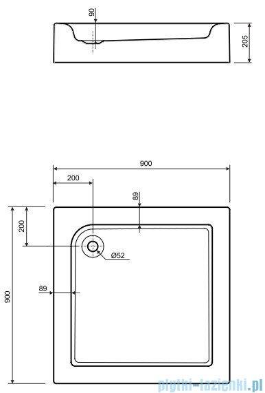 Koło Standard Plus Brodzik kwadratowy 90cm ze zintegrowaną obudową XBK1490000