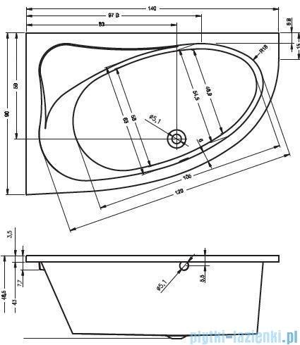 Riho Lyra wanna asymetryczna 140x90 prawa + nóżki + syfon BA65/08/AMC55