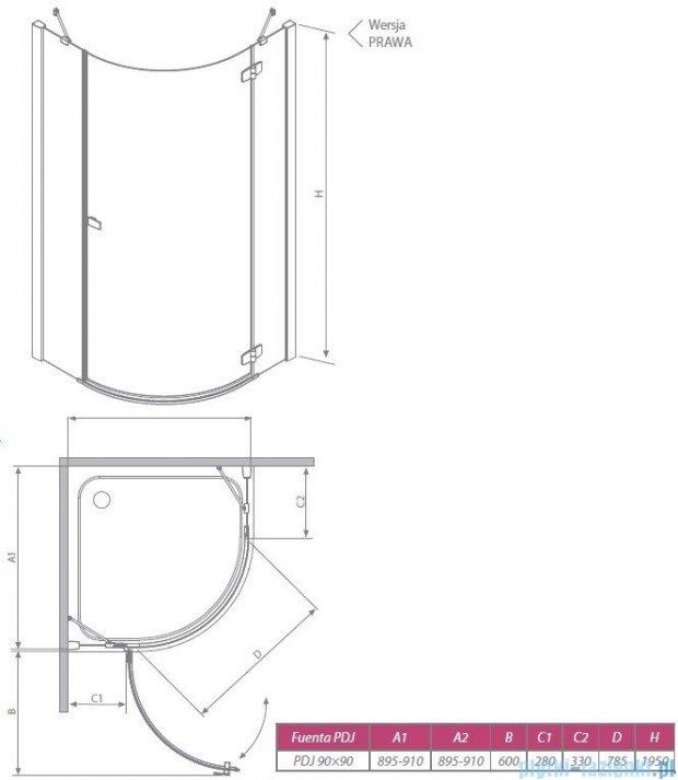 Radaway Fuenta PDJ Kabina prysznicowa 90x90 prawa szkło brązowe 381004-08NR
