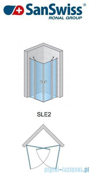 SanSwiss Swing Line SLE2 Wejście narożne 75cm profil biały Lewe SLE2G07500407