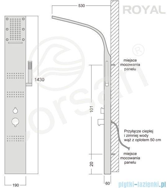 Corsan Royal Panel natryskowy z mieszaczem biały A-013SBIAŁY