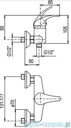KFA NEFRYT Bateria natryskowa ścienna z natryskiem chrom 506-510-00
