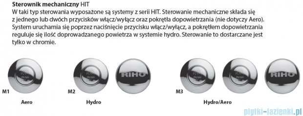 Riho Lusso Wanna prostokątna 170x75 z hydromasażem Hit Hydro 6+4+2/Aero11 BA18H3