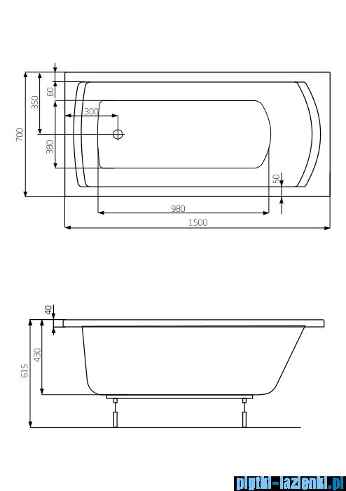 Roca Linea wanna 150x70cm z hydromasażem Effects Titanium A24T017000