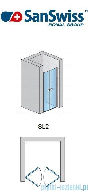 SanSwiss Swing Line SL2 Drzwi dwuczęściowe 70cm profil biały SL207000407
