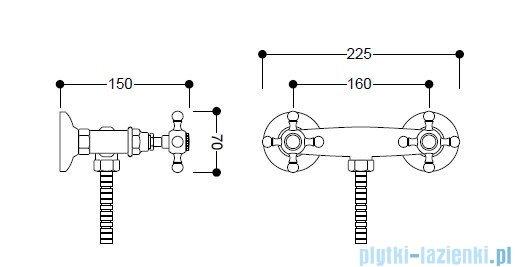 Kerasan Bateria natryskowa Retro chrom 739790