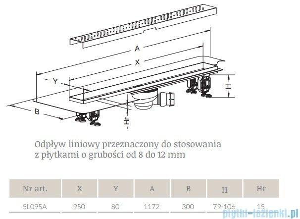 Radaway Quadro Odpływ liniowy 95x8cm 5L095A,5R095Q