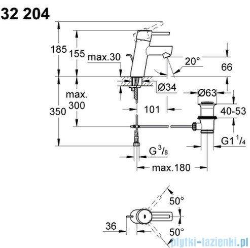 Grohe Concetto bateria umywalkowa DN 15 niska z korkiem 32204001