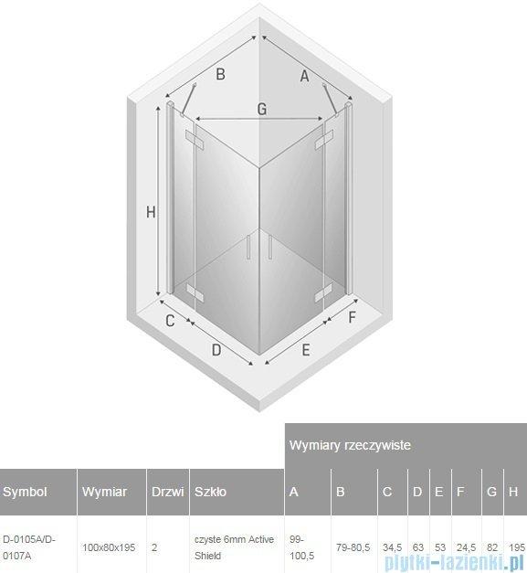 New Trendy New Renoma kabina prostokątna 100x80x195 cm przejrzyste D-0105A/D-0107A