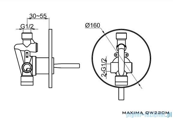 Kohlman Maxima Podtynkowa bateria wannowa QW220M