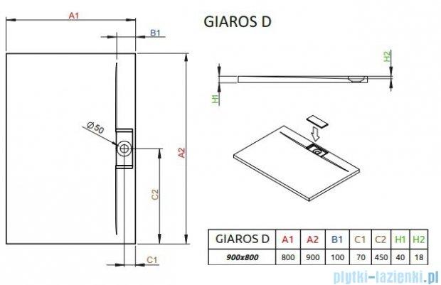 Radaway Giaros D Brodzik prostokątny 90x80x4cm M3GRD9080