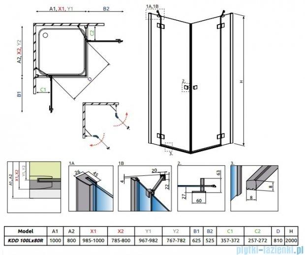 Radaway Essenza New Kdd kabina 100x80cm szkło przejrzyste 385062-01-01L/385061-01-01R