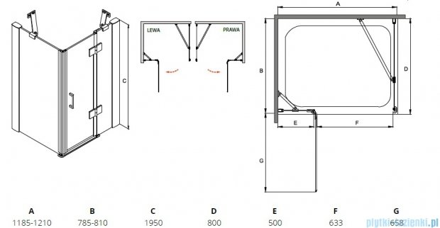 Besco Viva kabina prostokątna lewa 120x80x195cm przejrzyste VPL-128-195C