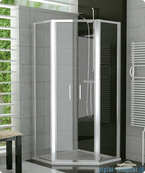 SanSwiss Top-Line Pięciokątna kabina prysznicowa TOP52 z drzwiami otwieranymi 100x100cm TOP5270805007
