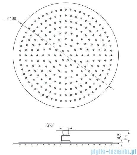 Deante Floks głowica natryskowa okrągła 40 cm chrom NAC 001K