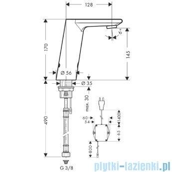 Hansgrohe Metris S Samoczynna bateria umywalkowa na podczerwień Electronic- 230v 31102000