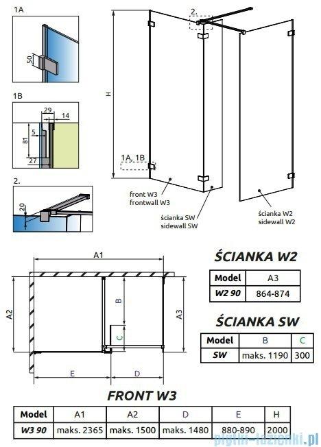 Radaway Euphoria Walk-in III kabina 90x90cm szkło przejrzyste 383131-01-01/383121-01-01/383160-01-01