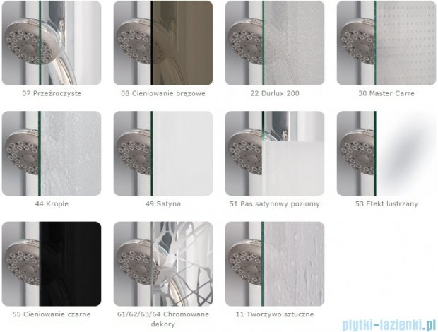 SanSwiss Melia MET1 ścianka lewa 75x200cm krople MET1PG0751044