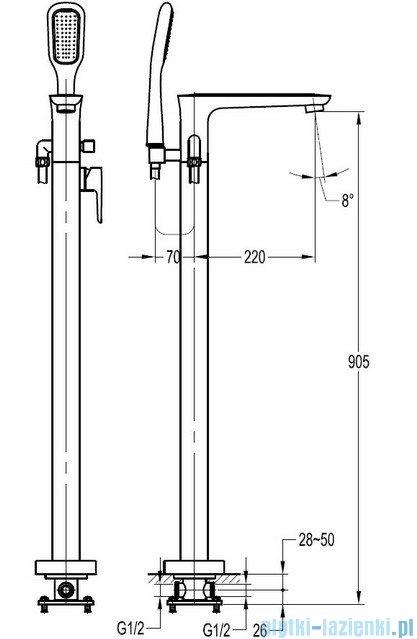 Omnires Hudson bateria wannowa wolnostojąca z zestawem natryskowym chrom HS4133