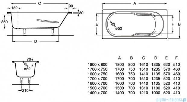 Roca Genova N wanna 140x70cm z hydromasażem Effects Gold Opcja A24T350000