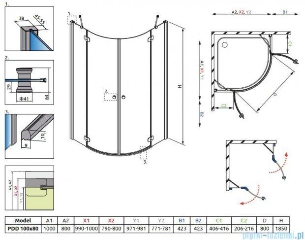 Radaway Torrenta PDD E kabina półokrągła 100x80 szkło grafitowe + Brodzik Patmos E lewy + syfon 31640-01-05N