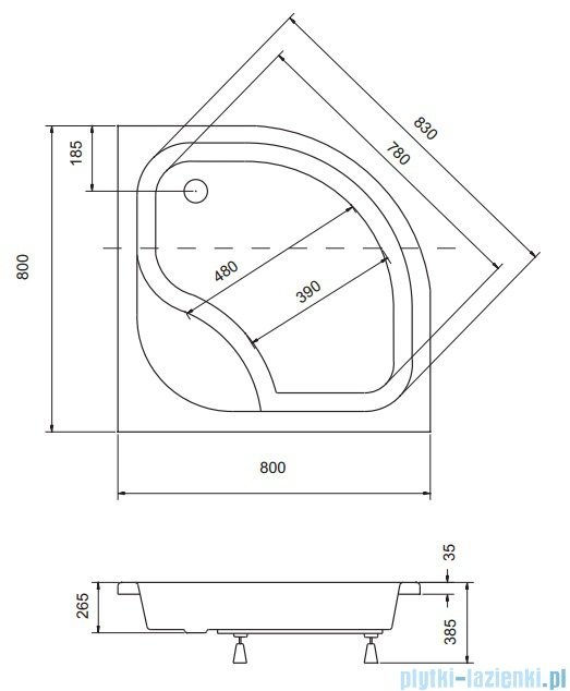 Sea Horse Sigma zestaw kabina natryskowa półokrągła - niska 80x80 brązowe + brodzik BKZ1/3/KB/